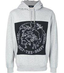 diesel albert jersey hoodie - grey