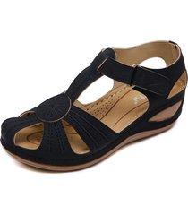 sandalias de tacón de cuña antideslizantes vintage para mujer