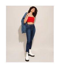 calça cigarrete heart jeans cintura super alta sawary azul escuro