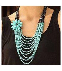 beaded necklace, 'sky romance' (thailand)