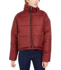 celebrity pink juniors' plaid puffer coat