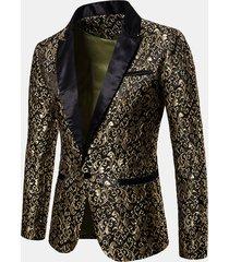 blazer bavero del risvolto della cerimonia nuziale del palazzo del vestito del vestito da stampa del vestito dal jacquard degli uomini