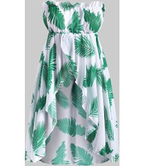 leave print strapless chiffon plus size cover up top