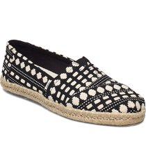 black global woven sandaletter expadrilles låga svart toms