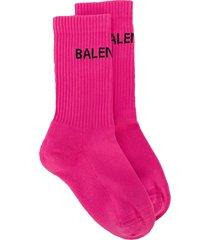 balenciaga logo knit socks - pink
