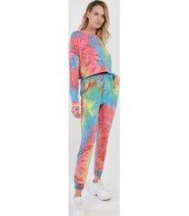 conjunto crop corto tie dye multicolor night concept