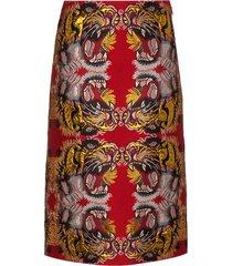 gucci lurex jacquard skirt - red