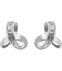 orecchini a lobo in oro bianco con diamanti 0,01 ct per donna