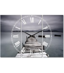 designart beach 3 panels metal wall clock