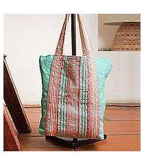cotton tote bag, 'bright stitches' (mexico)