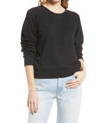 women's madewell shrunken recycled cotton sweatshirt, size large regular - black