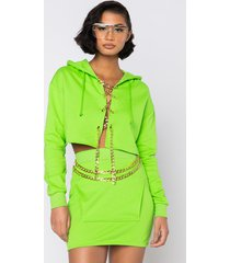 akira always fab crop hoodie with chain lace up