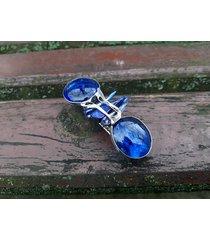 szklana niebieska - klamra do włosów