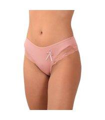 calcinha vip lingerie microfibra lisa com renda lateral rosa.