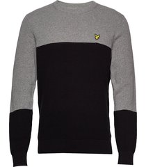 colour block knitted jumper gebreide trui met ronde kraag grijs lyle & scott
