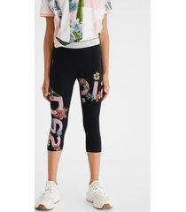 leggings logo flowers waist glitter - black - xl