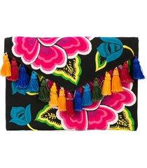 carolina herrera floral embroidered tassel clutch - black