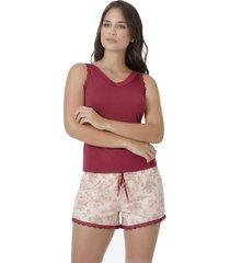 pijama pantalon corto vinotinto adriana arango