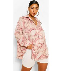 plus oversized abstracte marmerprint blouse, roze