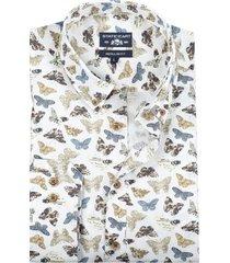 state of art shirt vlinderprint wit cognac