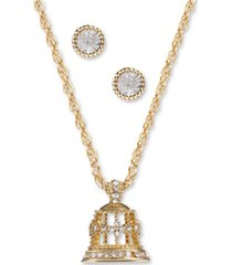 charter club gold-tone crystal bell pendant necklace & stud earrings set, created for macy's