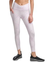 dkny crossover-front tie-dyed leggings