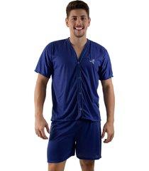 pijama linha noite de botão azul
