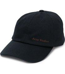acne studios logo embroidered baseball cap - black