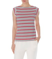 anne klein stripe cap sleeve top, size large in camellia/aster combo at nordstrom
