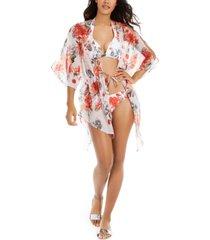 rachel rachel roy white floral printed tie-front kimono cover-up women's swimsuit