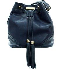 bolsa maria verônica saco transversal couro azul
