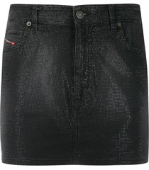 diesel five-pocket embellished mini skirt - black