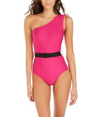 dkny belted one-shoulder tummy-control one-piece swimsuit women's swimsuit