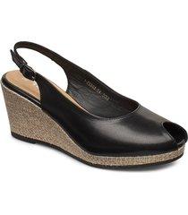 woms open toe sandalette med klack espadrilles svart tamaris