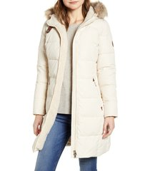 women's lauren ralph lauren quilted faux shearling lined down & feather parka, size x-small - ivory
