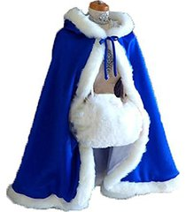 royal blue short women fur winter warm hood cape shawl wedding cloak christmas p