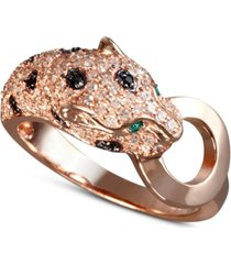 effy signature white and black diamond (5/8 ct. t.w.) and emerald accent panther ring in 14k rose gold