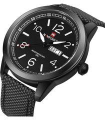 reloj análogo hombre naviforce militar fechador correa nylon