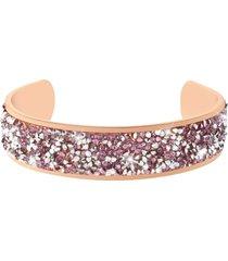 bracciale bangle medium in metallo rosato e cristalli per donna