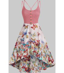 butterfly print strappy high low dress