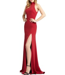 women's mac duggal cutout back jersey gown, size 16 - red