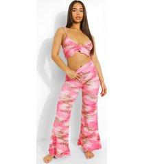 luipaardprint pyjama set met bralette en wijd uitlopende broek, pink