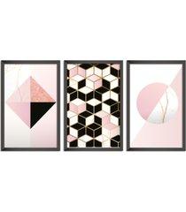 conjunto kit 3 quadro oppen house s 60x120cm escandinavo narvi com vidro e moldura preta      quadro oppen house s decorativos - preto - dafiti