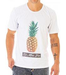 camiseta masculina fruit abacaxi estampa frontal ecolã³gica - area verde - multicolorido - masculino - dafiti