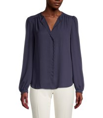tommy hilfiger women's v-neck blouse - midnight - size m