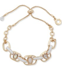anne klein gold-tone mother-of-pearl & white inlay link slider bracelet