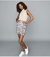 reiss lucielle - floral print ruched mini skirt in ivory, womens, size 14