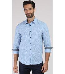 camisa masculina tradicional estampada floral manga longa azul claro