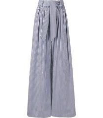 martin grant striped tie-waist palazzo trousers - blue