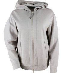 brunello cucinelli hooded sweatshirt in cotton and silk with monili on the pockets and on the zip puller